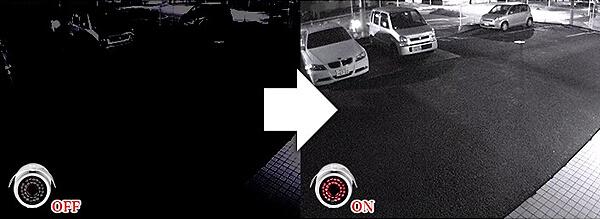 屋外用防犯カメラの機能、夜間暗視機能