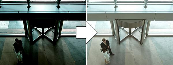 屋外用防犯カメラの機能、逆光補正機能